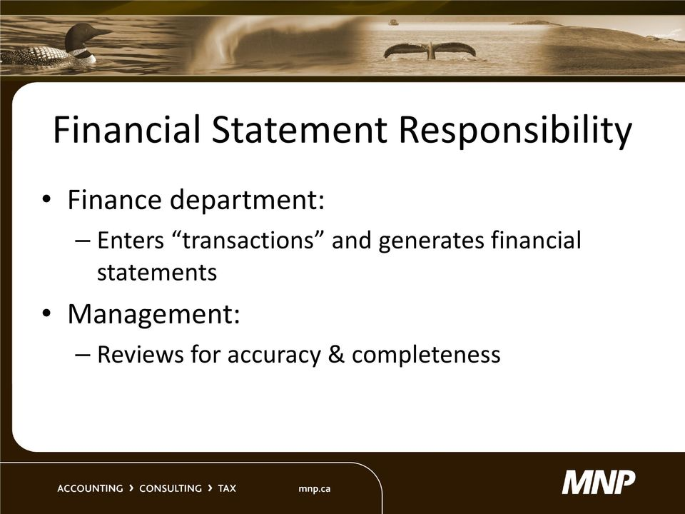 and generates financial statements
