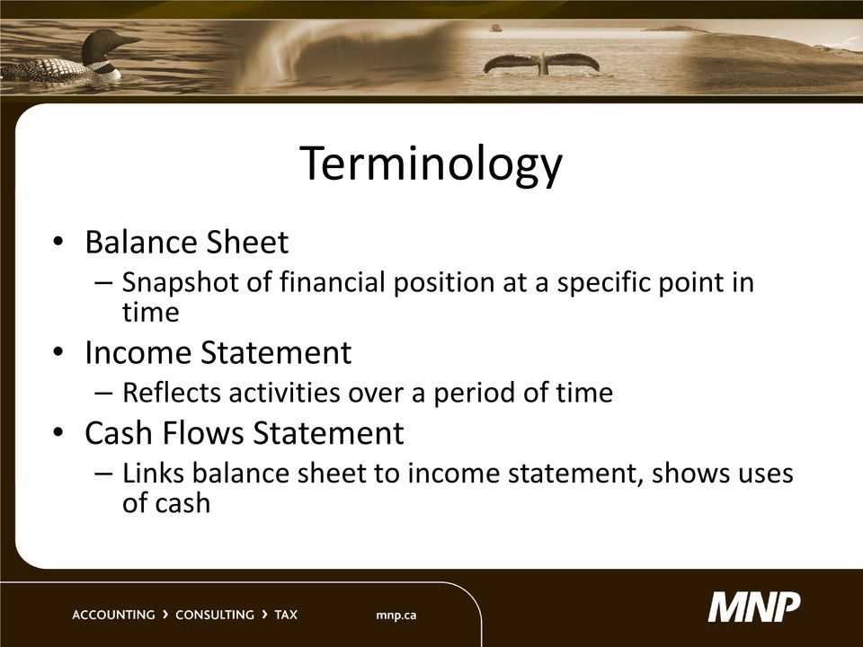 Reflects activities over a period of time Cash Flows