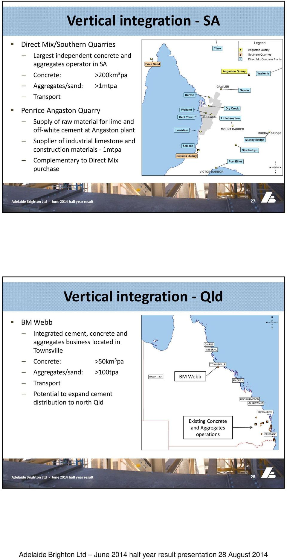 materials - 1mtpa Complementary to Direct Mix purchase 27 Vertical integration - Qld BM Webb Integrated cement, concrete and aggregates business located in