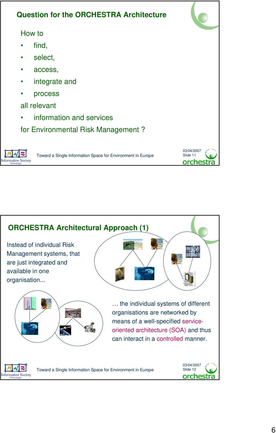 Slide 11 ORCHESTRA Architectural Approach (1) Instead of individual Risk Management systems, that are just integrated and