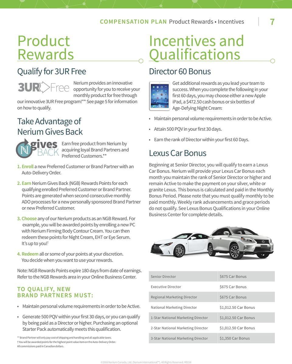 Take Advantage of Nerium Gives Back Earn free product from Nerium by acquiring loyal s and Preferred Customers.** 1. Enroll a new Preferred Customer or with an Auto-Delivery Order. 2.