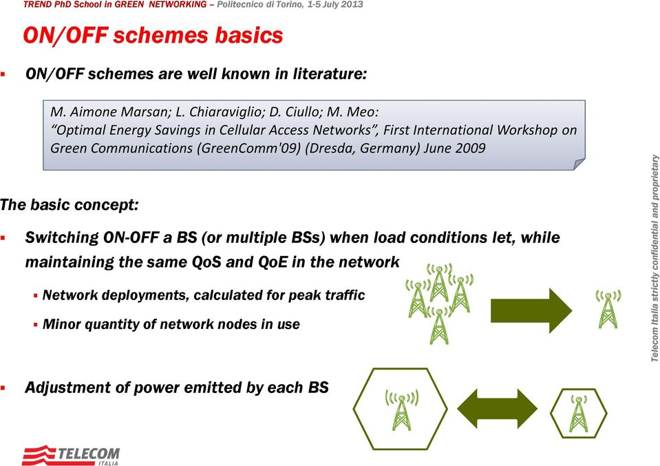 Germany) June 2009 The basic concept: Switching ON-OFF a BS (or multiple BSs) when load conditions let, while maintaining the same