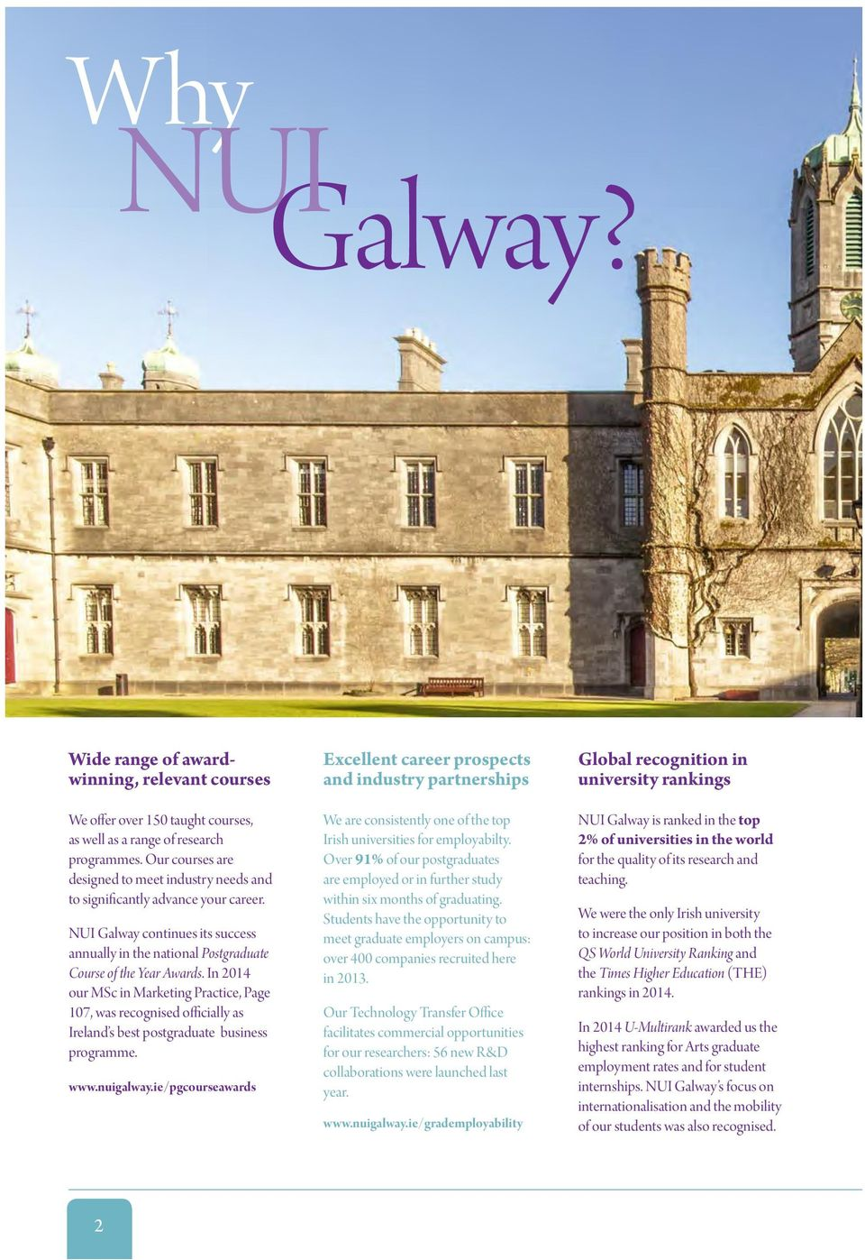 In 2014 our MSc in Marketing Practice, Page 107, was recognised officially as Ireland s best postgraduate business programme. www.nuigalway.
