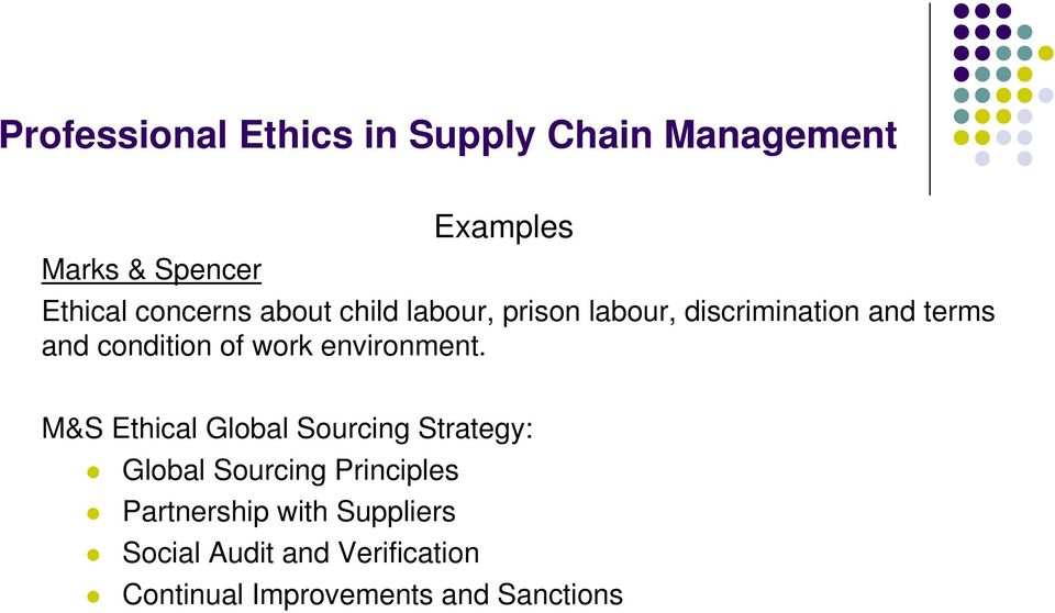 M&S Ethical Global Sourcing Strategy: Global Sourcing Principles