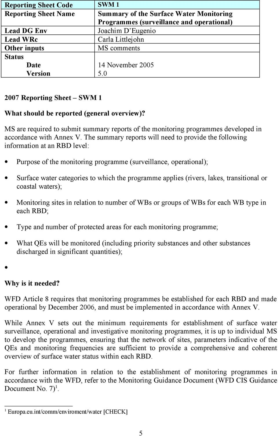 MS are required to submit summary reports of the monitoring programmes developed in accordance with Annex V.