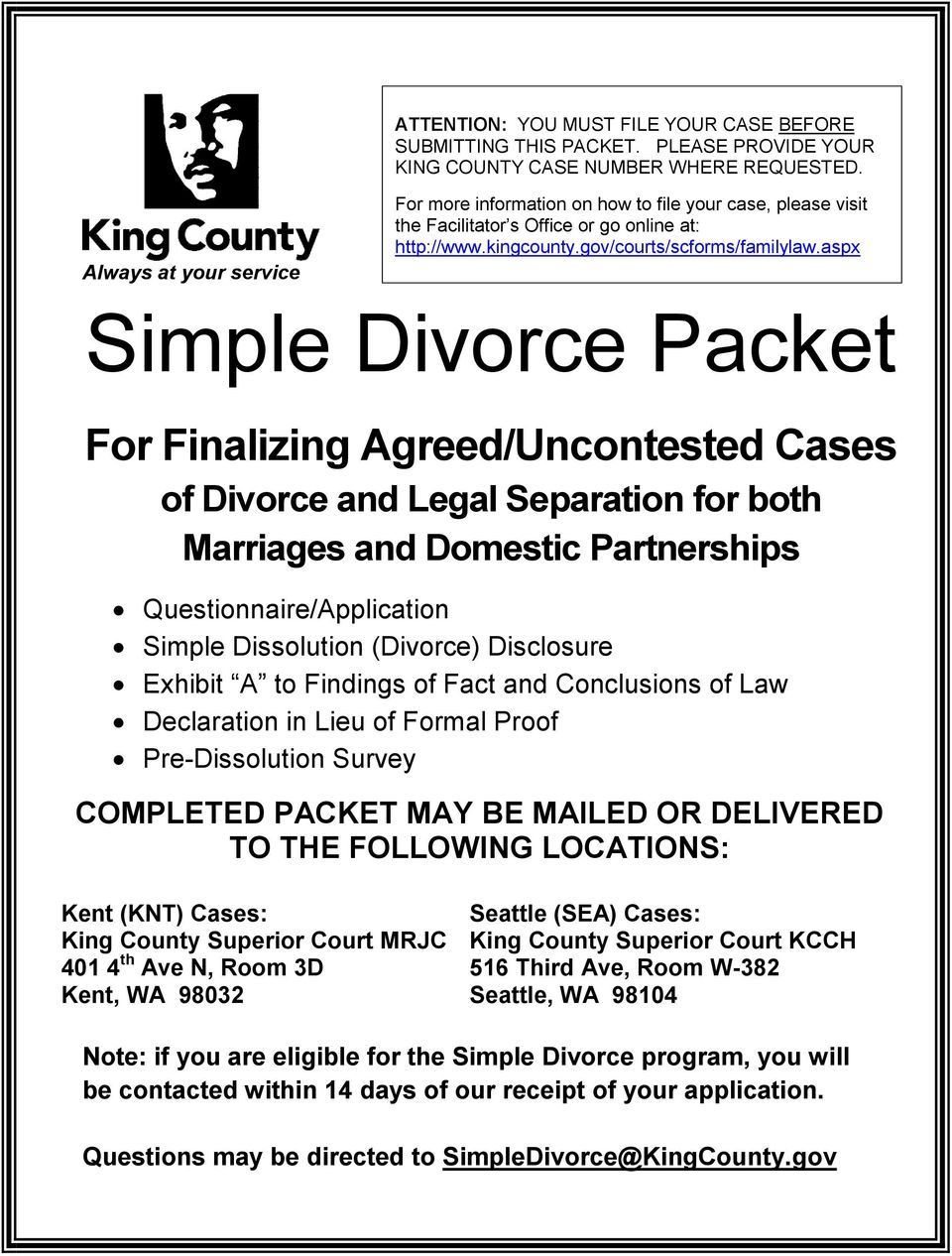 aspx Simple Divorce Packet For Finalizing Agreed/Uncontested Cases of Divorce and Legal Separation for both Marriages and Domestic Partnerships Questionnaire/Application Simple Dissolution (Divorce)