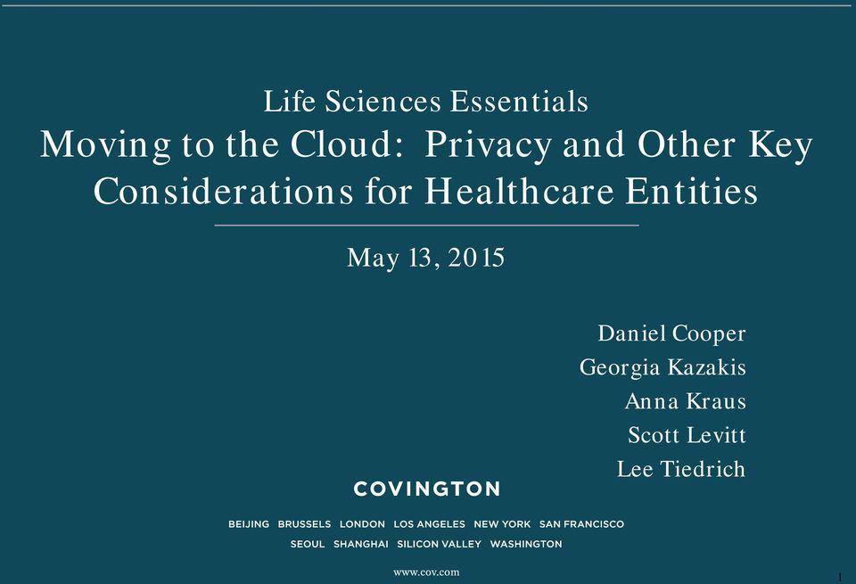 Healthcare Entities May 13, 2015 Daniel Cooper