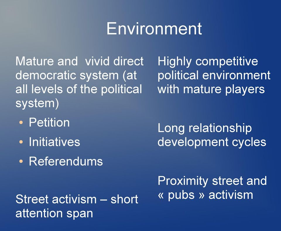 short attention span Highly competitive political environment with mature