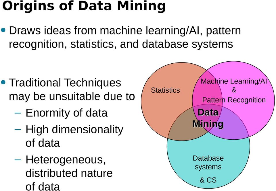 Enormity of data High dimensionality of data Heterogeneous, distributed nature of