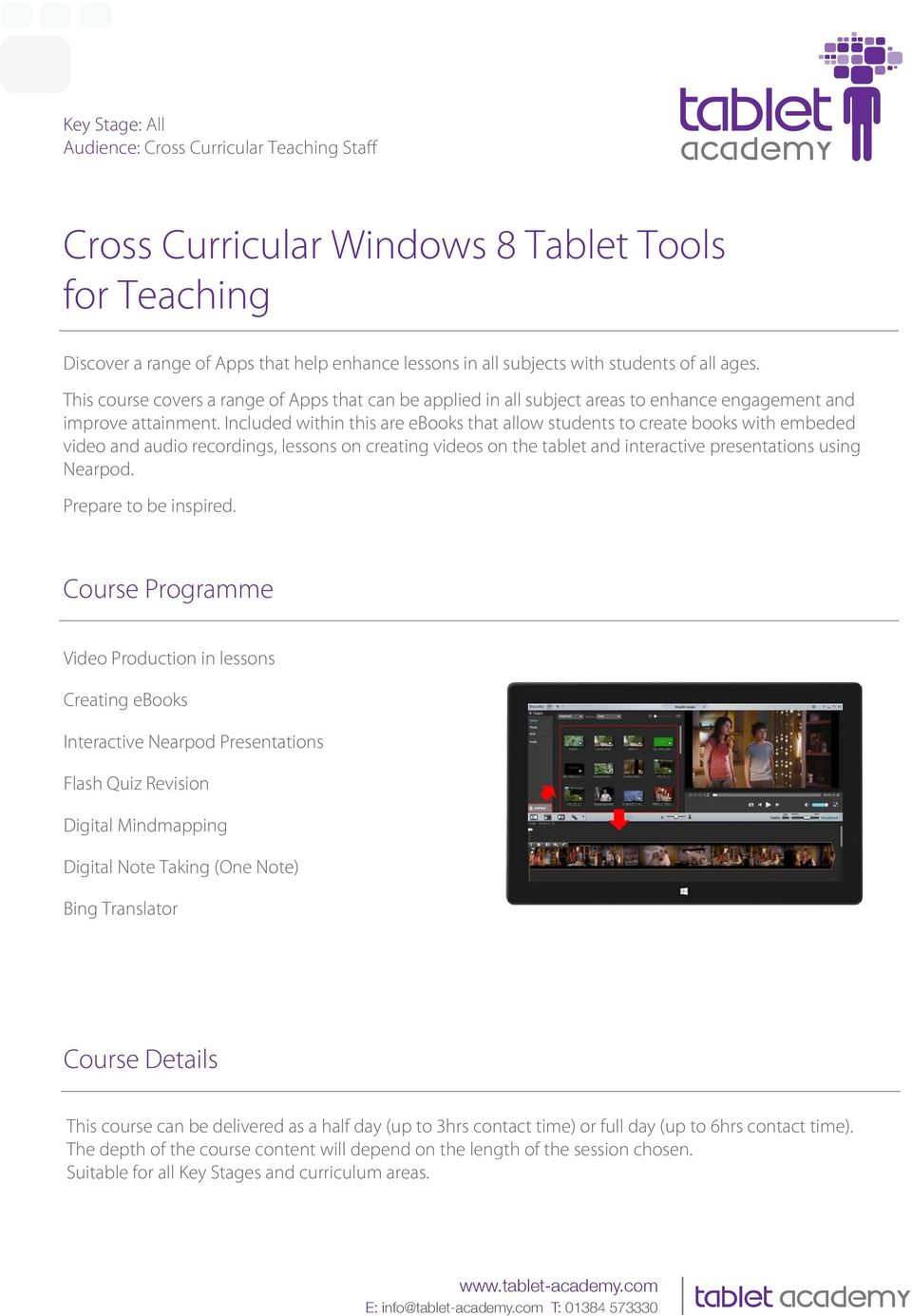Included within this are ebooks that allow students to create books with embeded video and audio recordings, lessons on creating videos on the tablet and interactive