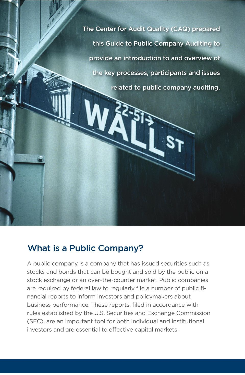 A public company is a company that has issued securities such as stocks and bonds that can be bought and sold by the public on a stock exchange or an over-the-counter market.