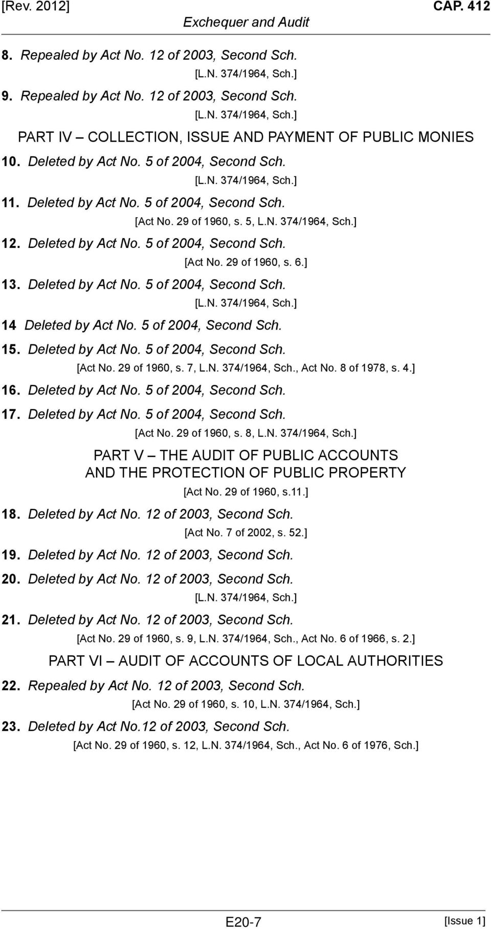 Deleted by Act No. 5 of 2004, Second Sch. 14 Deleted by Act No. 5 of 2004, Second Sch. 15. Deleted by Act No. 5 of 2004, Second Sch. [Act No. 29 of 1960, s. 7, L.N. 374/1964, Sch., Act No.