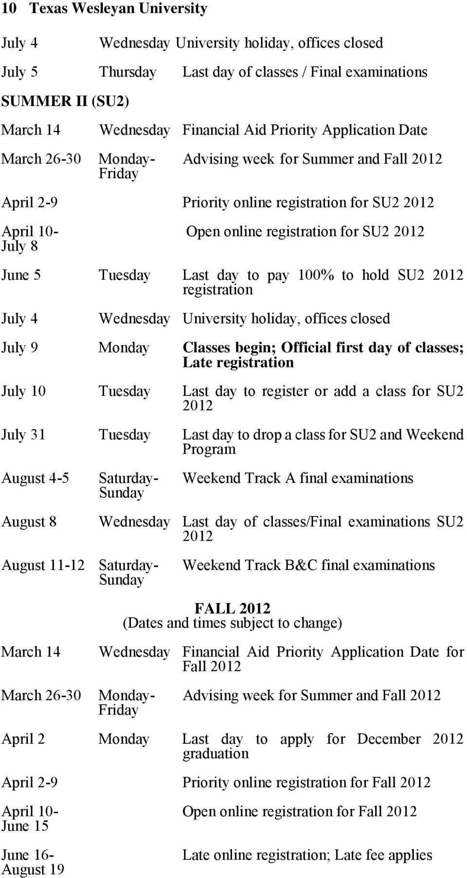 Tuesday Last day to pay 100% to hold SU2 2012 registration July 4 Wednesday University holiday, offices closed July 9 Monday Classes begin; Official first day of classes; Late registration July 10