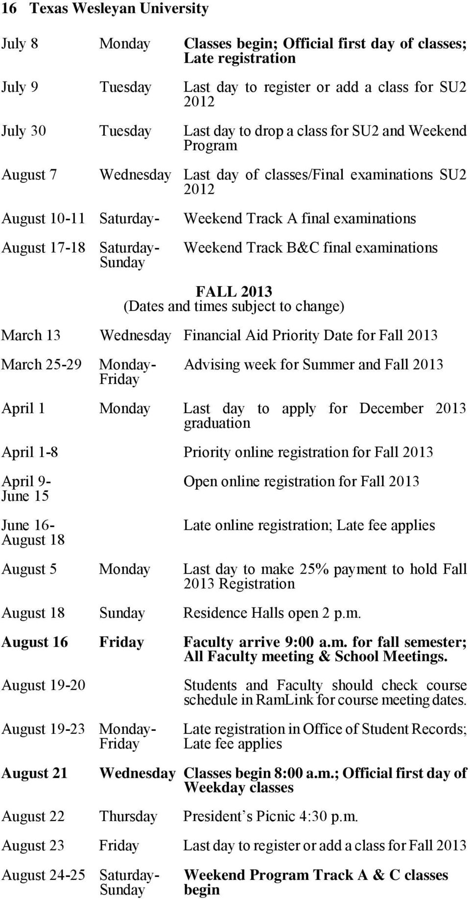 Weekend Track B&C final examinations FALL 2013 (Dates and times subject to change) March 13 Wednesday Financial Aid Priority Date for Fall 2013 March 25-29 Monday- Advising week for Summer and Fall