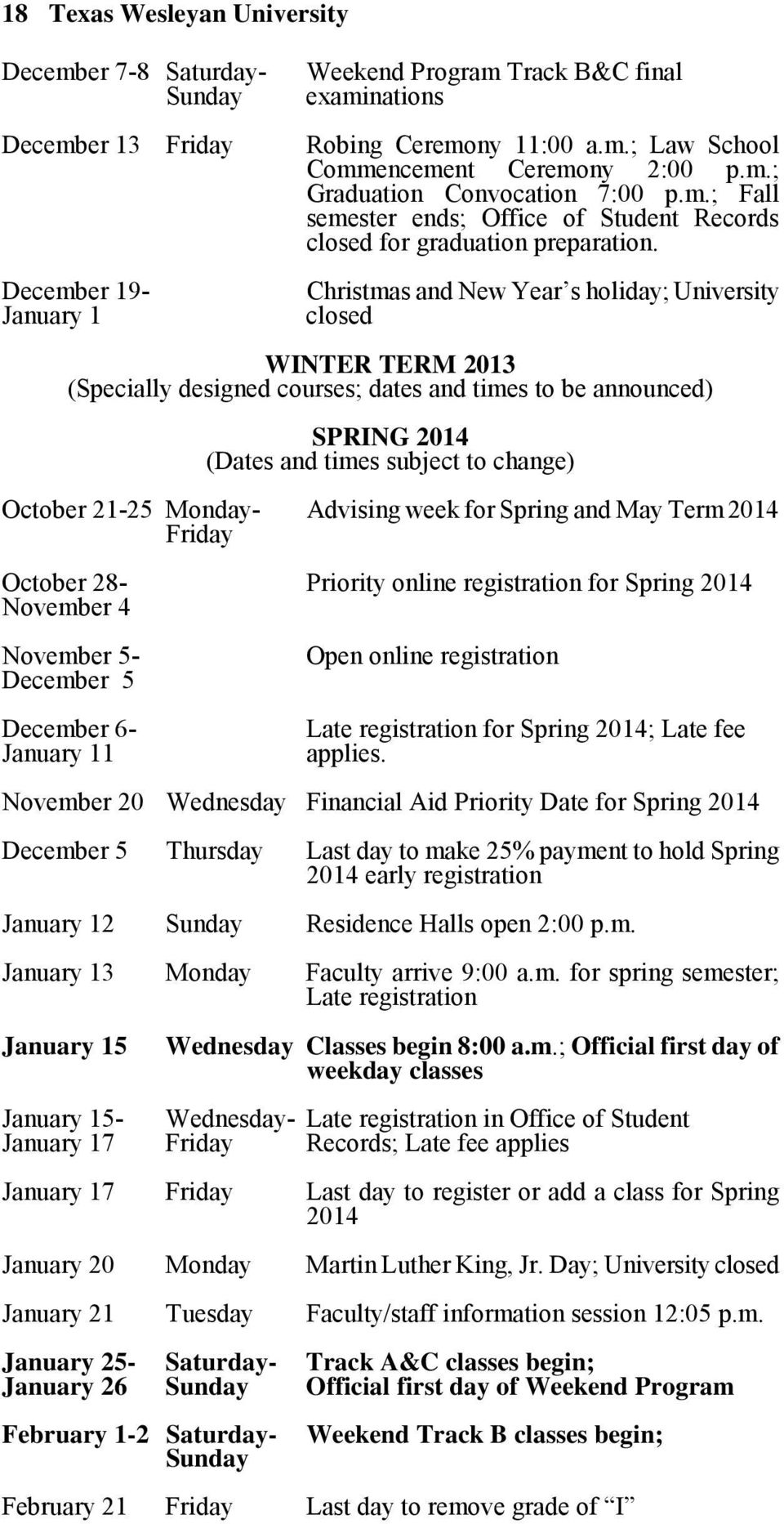 Christmas and New Year s holiday; University closed WINTER TERM 2013 (Specially designed courses; dates and times to be announced) SPRING 2014 (Dates and times subject to change) October 21-25