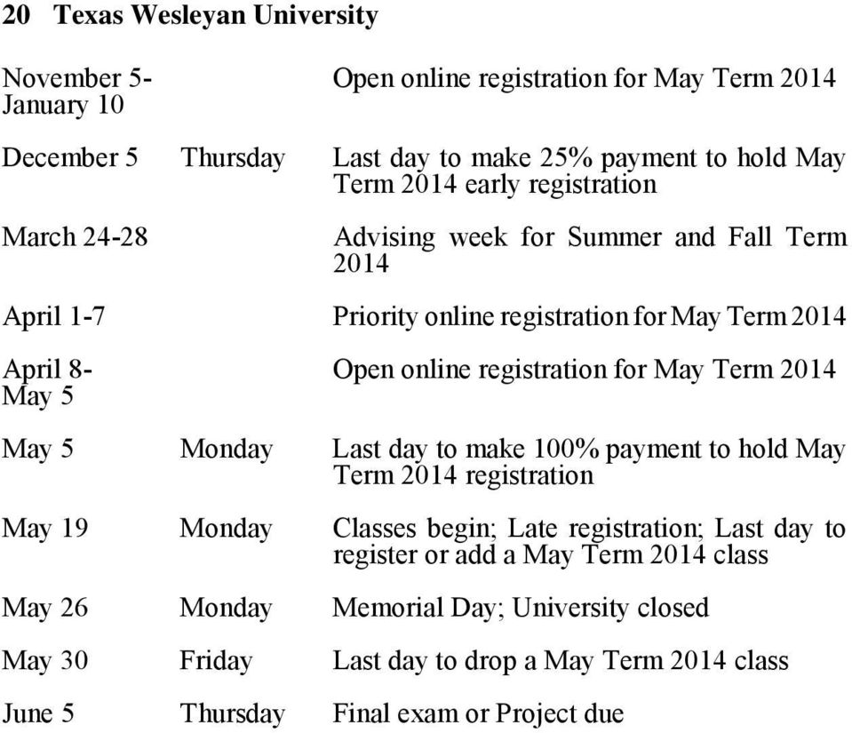 for May Term 2014 May 5 May 5 Monday Last day to make 100% payment to hold May Term 2014 registration May 19 Monday Classes begin; Late registration; Last day to