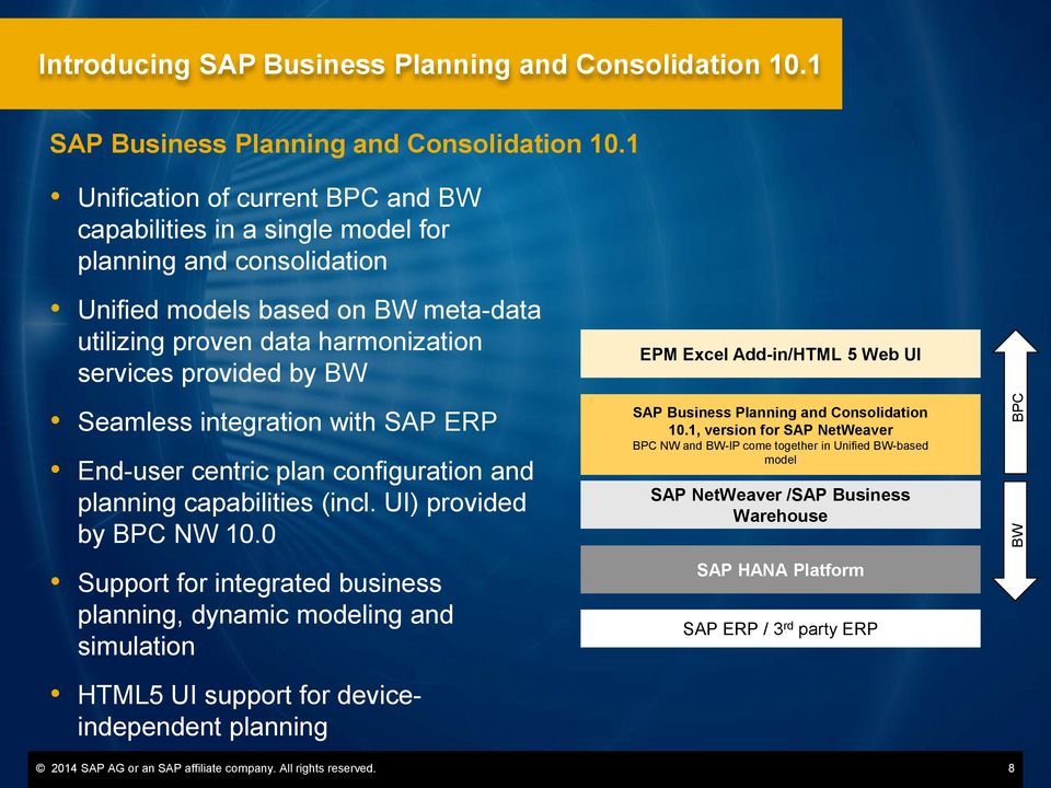 Seamless integration with SAP ERP End-user centric plan configuration and planning capabilities (incl. UI) provided by BPC NW 10.