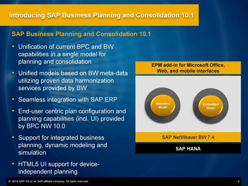 provided by BW EPM add-in for Microsoft Office, Web, and mobile interfaces Seamless integration with SAP ERP End-user centric plan configuration and planning capabilities (incl.