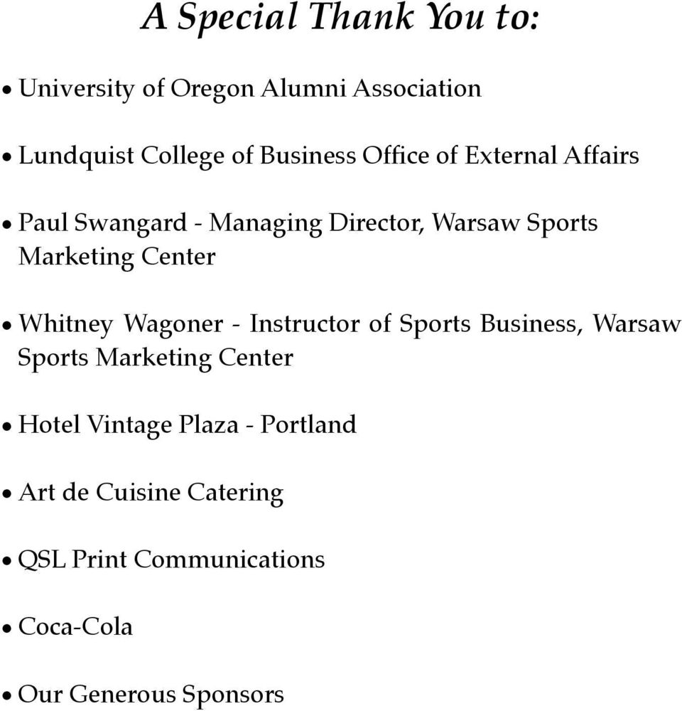 Whitney Wagoner - Instructor of Sports Business, Warsaw Sports Marketing Center Hotel Vintage