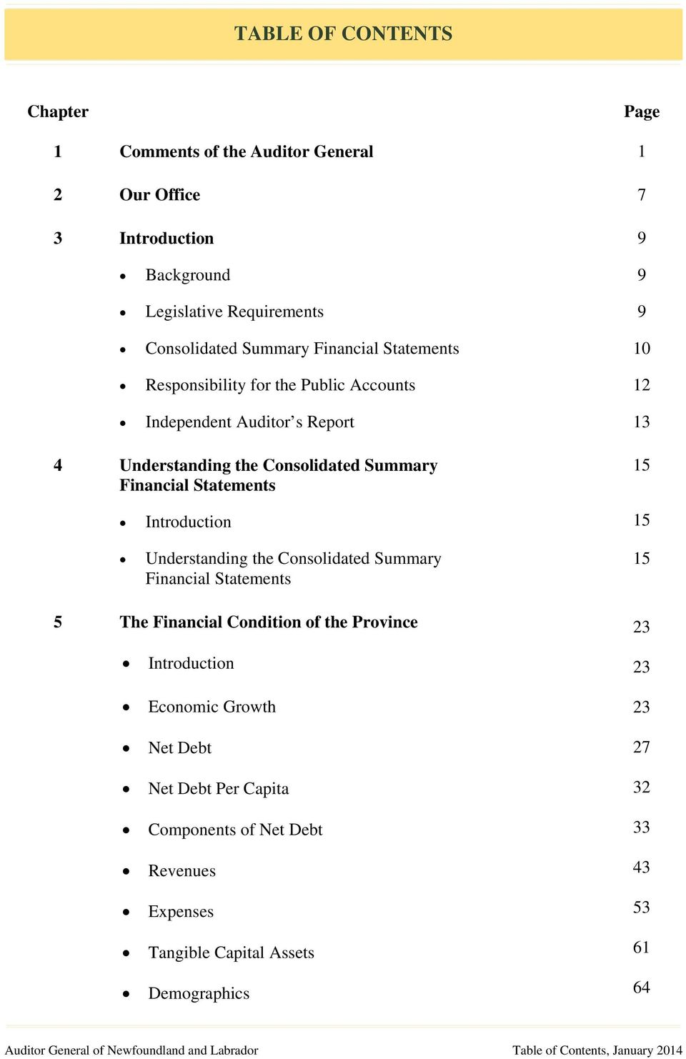 Understanding the Consolidated Summary Financial Statements 15 15 5 The Financial Condition of the Province 23 Introduction Economic Growth Net Debt Net Debt Per Capita