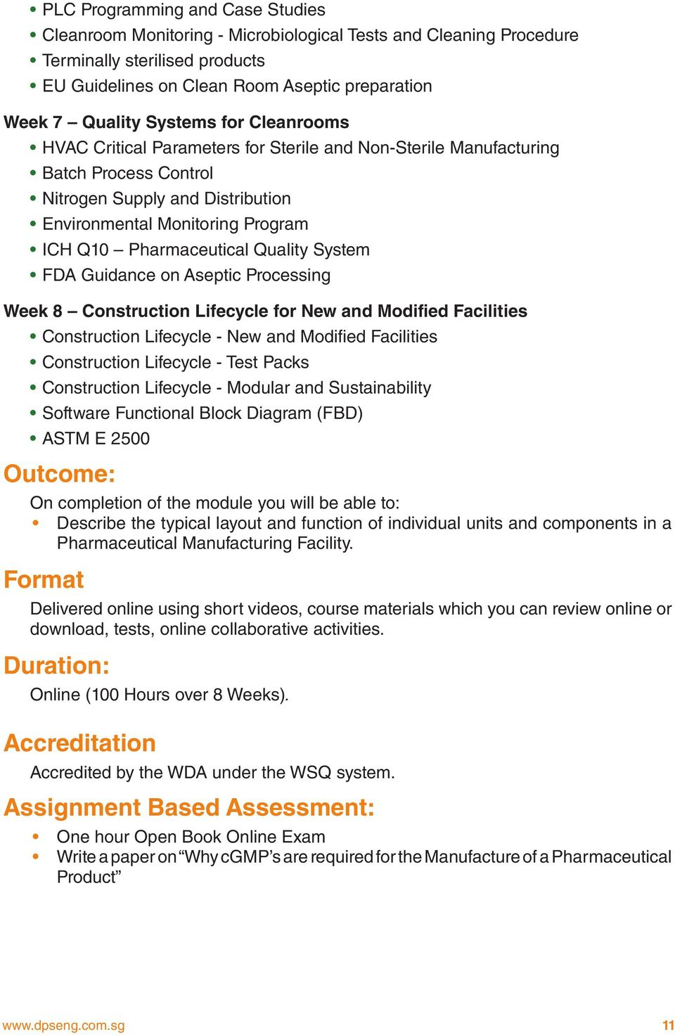 principles of pharmaceutical facility design full time part time