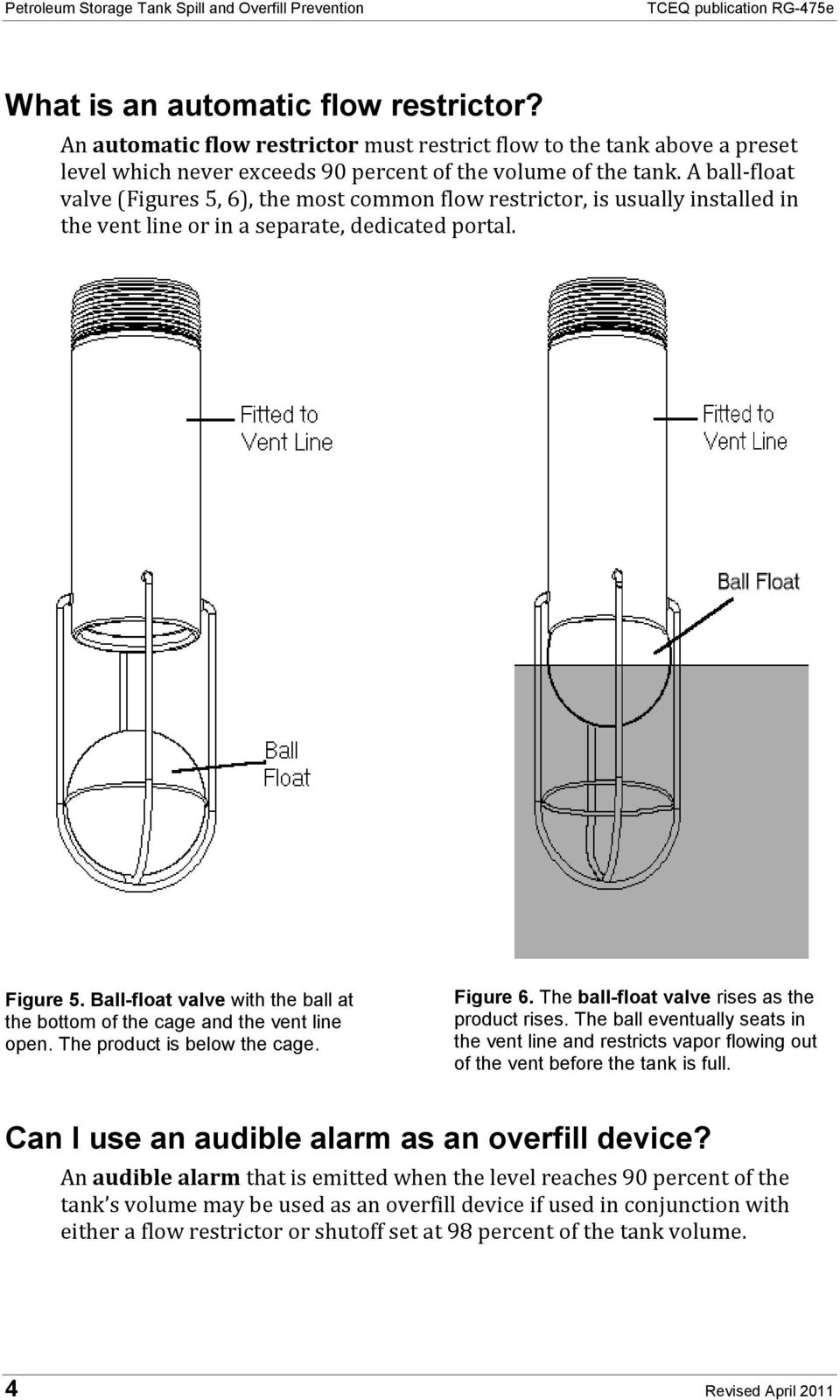 A ball-float valve (Figures 5, 6), the most common flow restrictor, is usually installed in the vent line or in a separate, dedicated portal. Figure 5.
