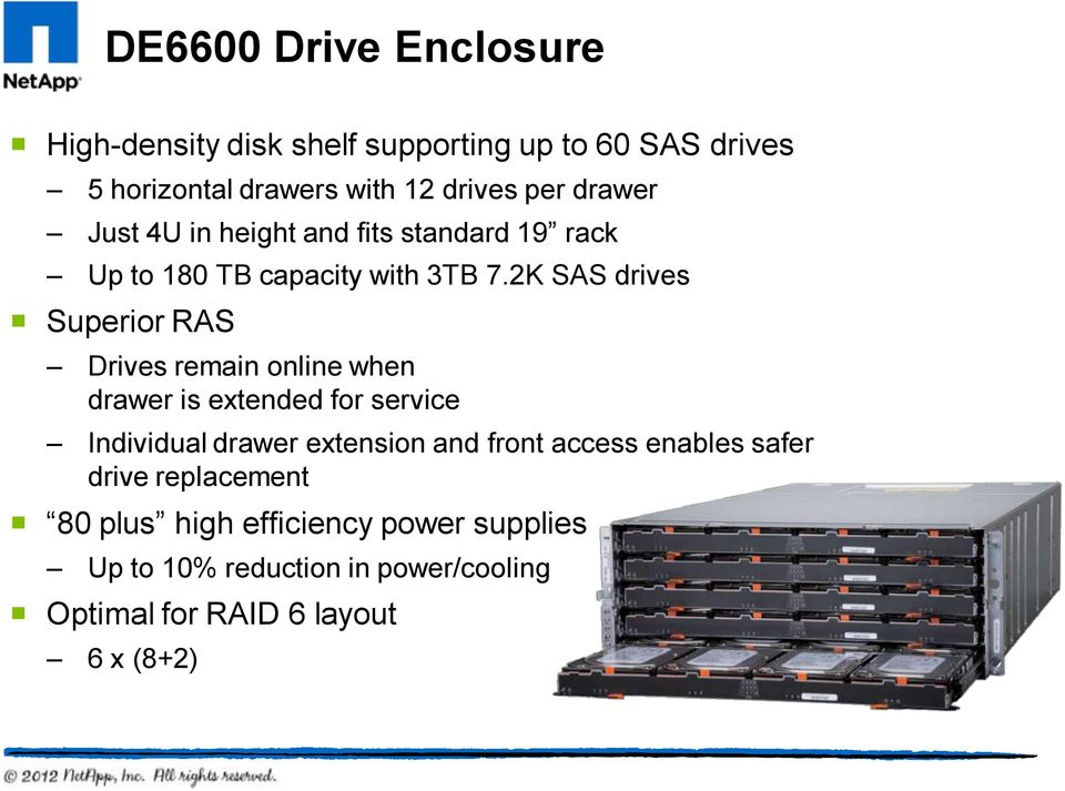 2K SAS drives Superior RAS Drives remain online when drawer is extended for service Individual drawer extension and