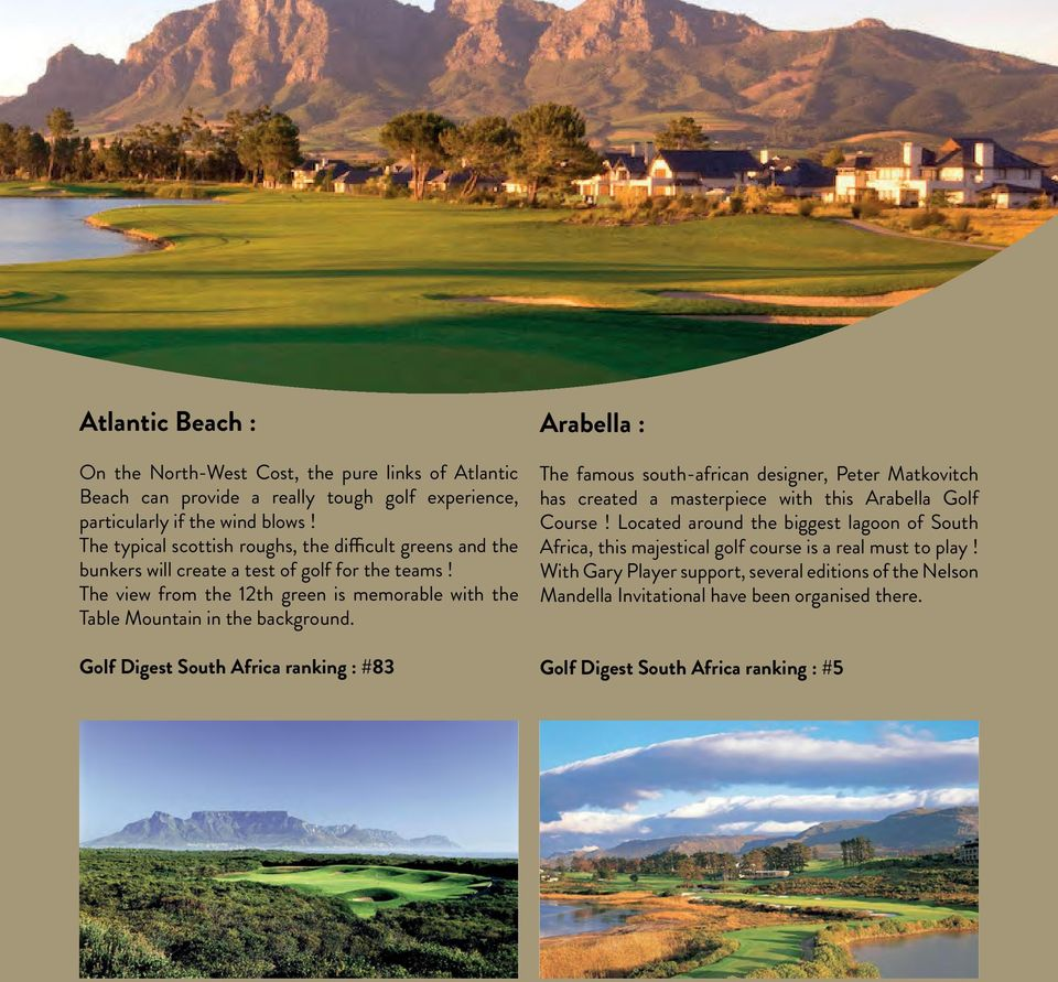 The view from the 12th green is memorable with the Table Mountain in the background.
