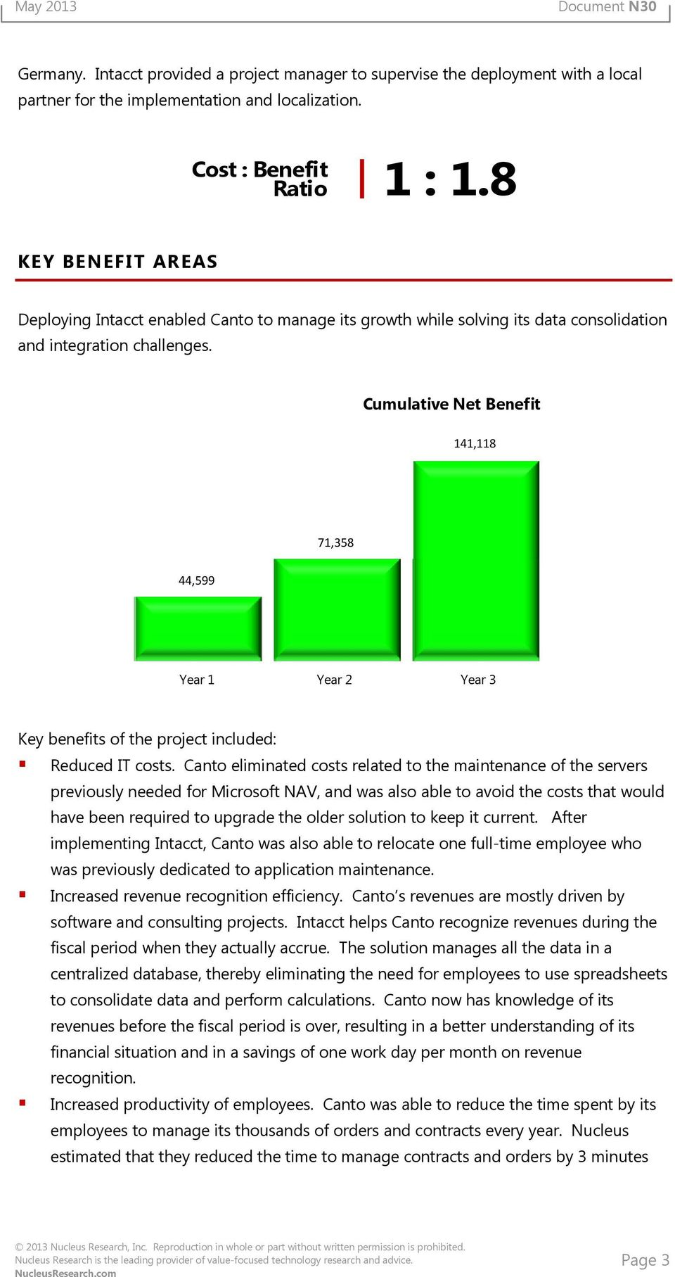 Cumulative Net Benefit 141,118 71,358 44,599 Year 1 Year 2 Year 3 Key benefits of the project included: Reduced IT costs.