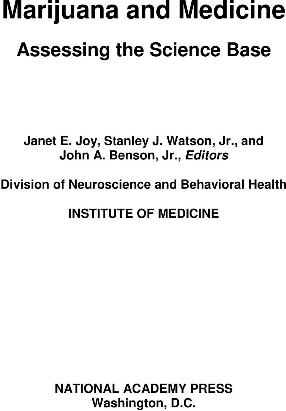 , Editors Division of Neuroscience and Behavioral Health