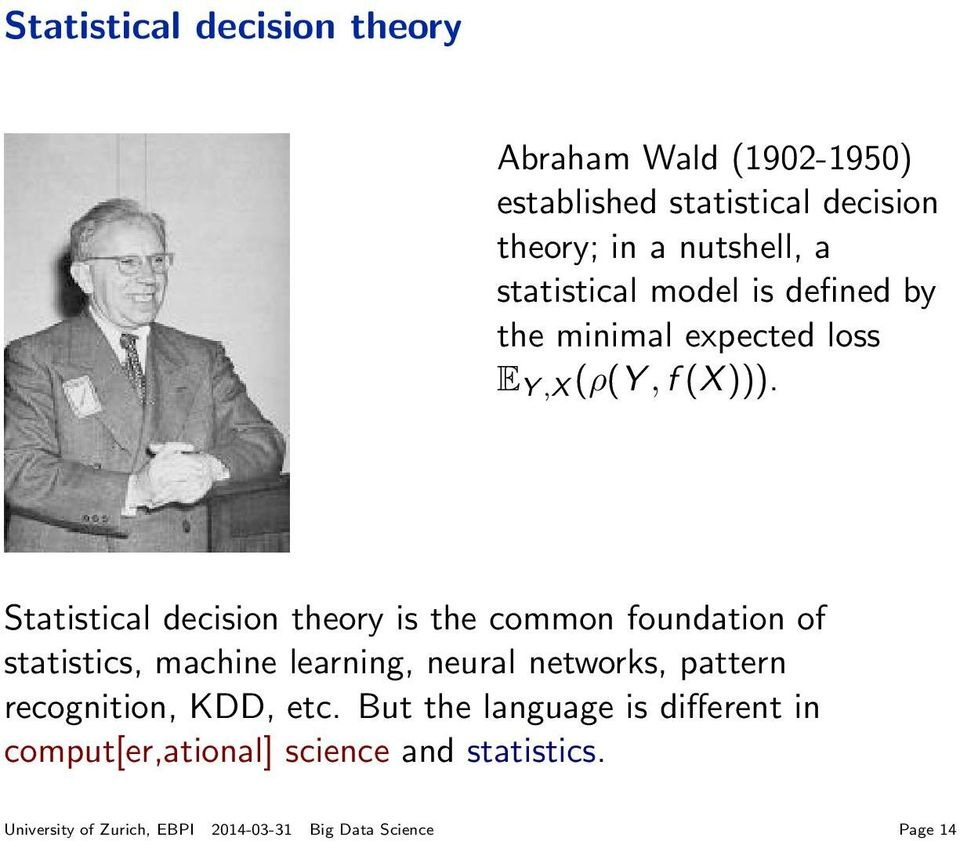 Statistical decision theory is the common foundation of statistics, machine learning, neural networks, pattern
