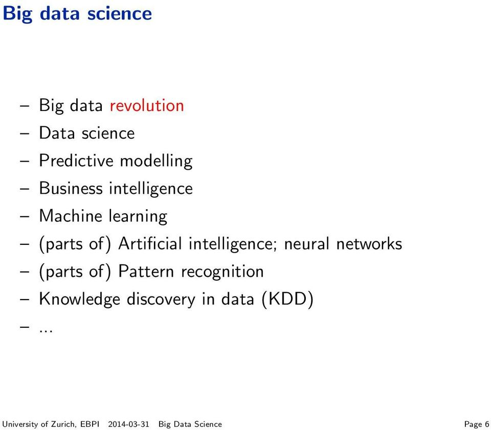 intelligence; neural networks (parts of) Pattern recognition Knowledge