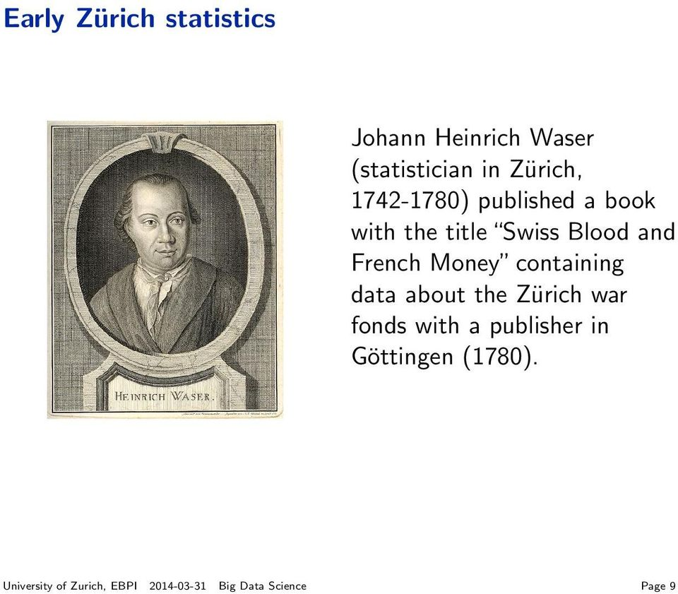 Zürich war fonds with a publisher in Göttingen (1780).