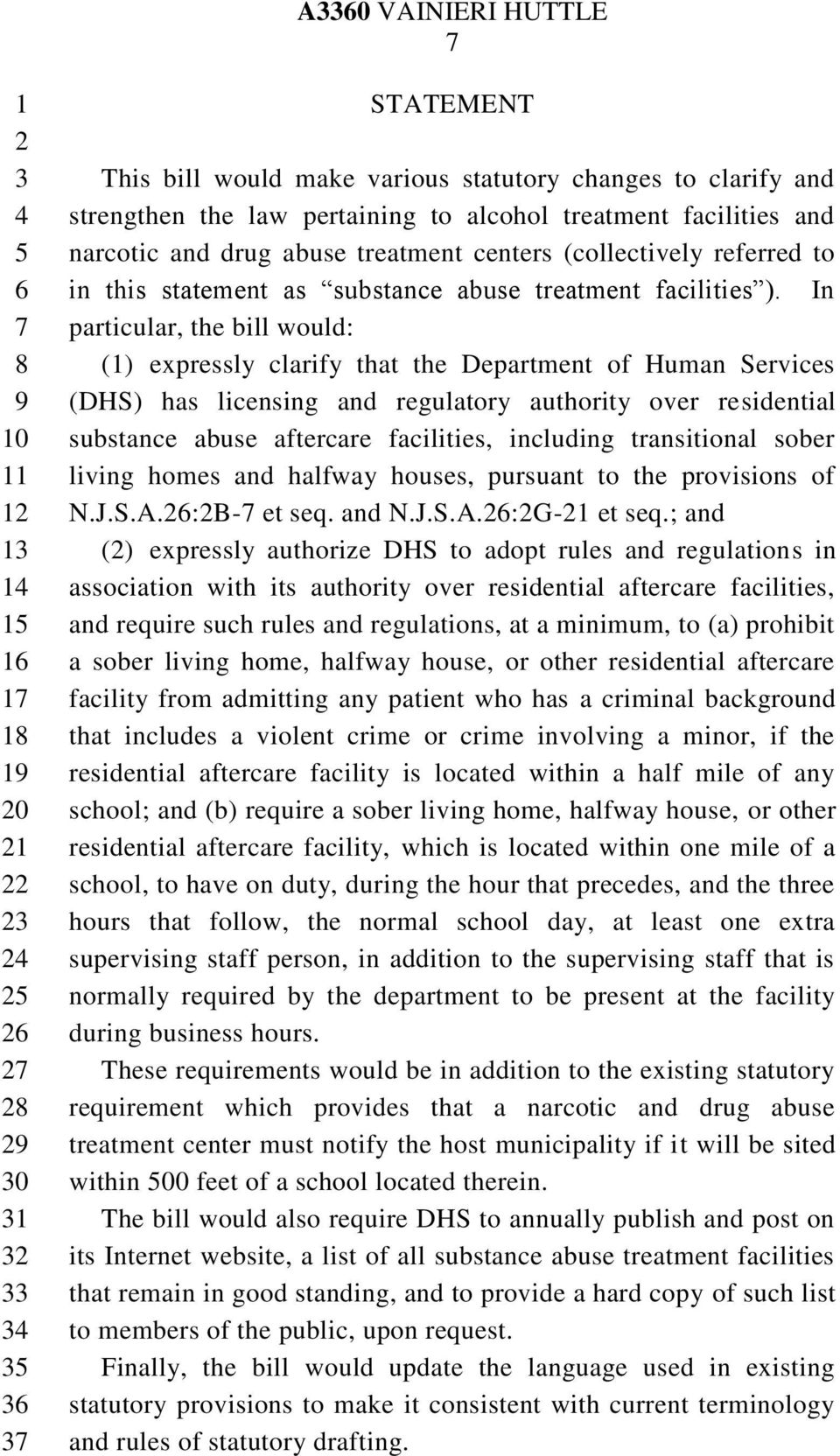 In particular, the bill would: () expressly clarify that the Department of Human Services (DHS) has licensing and regulatory authority over residential substance abuse aftercare facilities, including