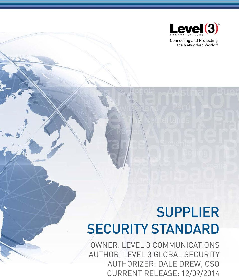 LEVEL 3 GLOBAL SECURITY AUTHORIZER: