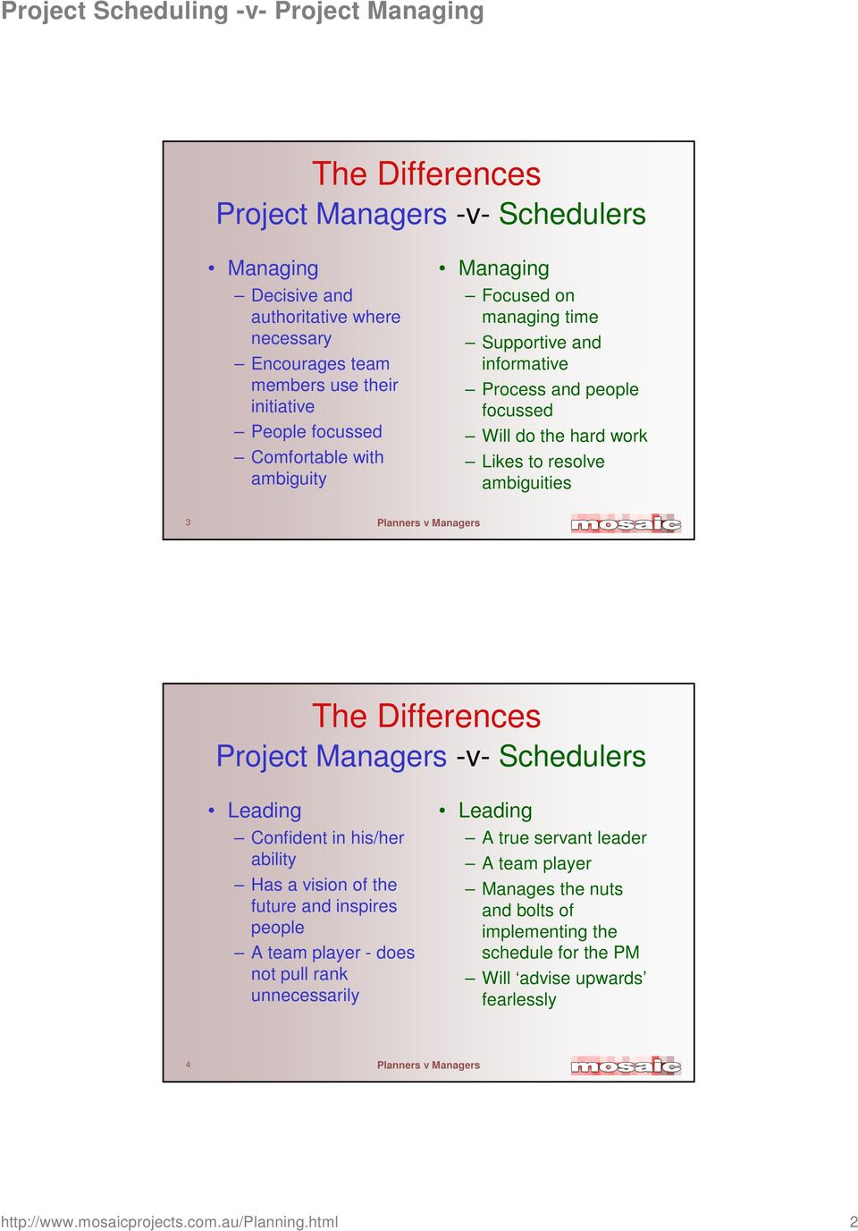 Project Managers -v- Schedulers Leading Confident in his/her ability Has a vision of the future and inspires people A team player - does not pull rank unnecessarily Leading A