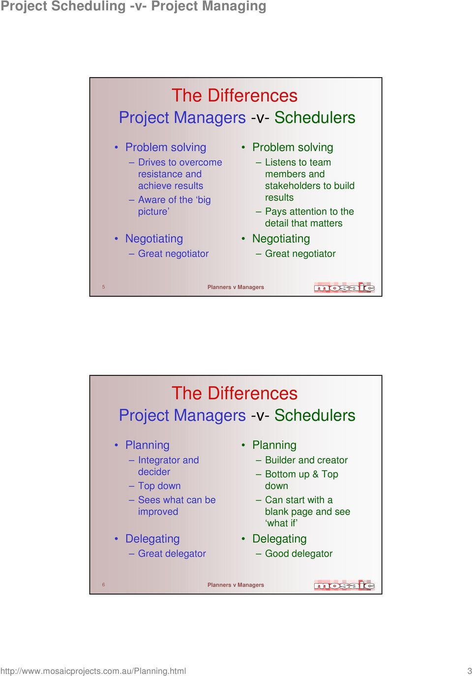 5 The Differences Project Managers -v- Schedulers Planning Integrator and decider Top down Sees what can be improved Delegating Great delegator Planning