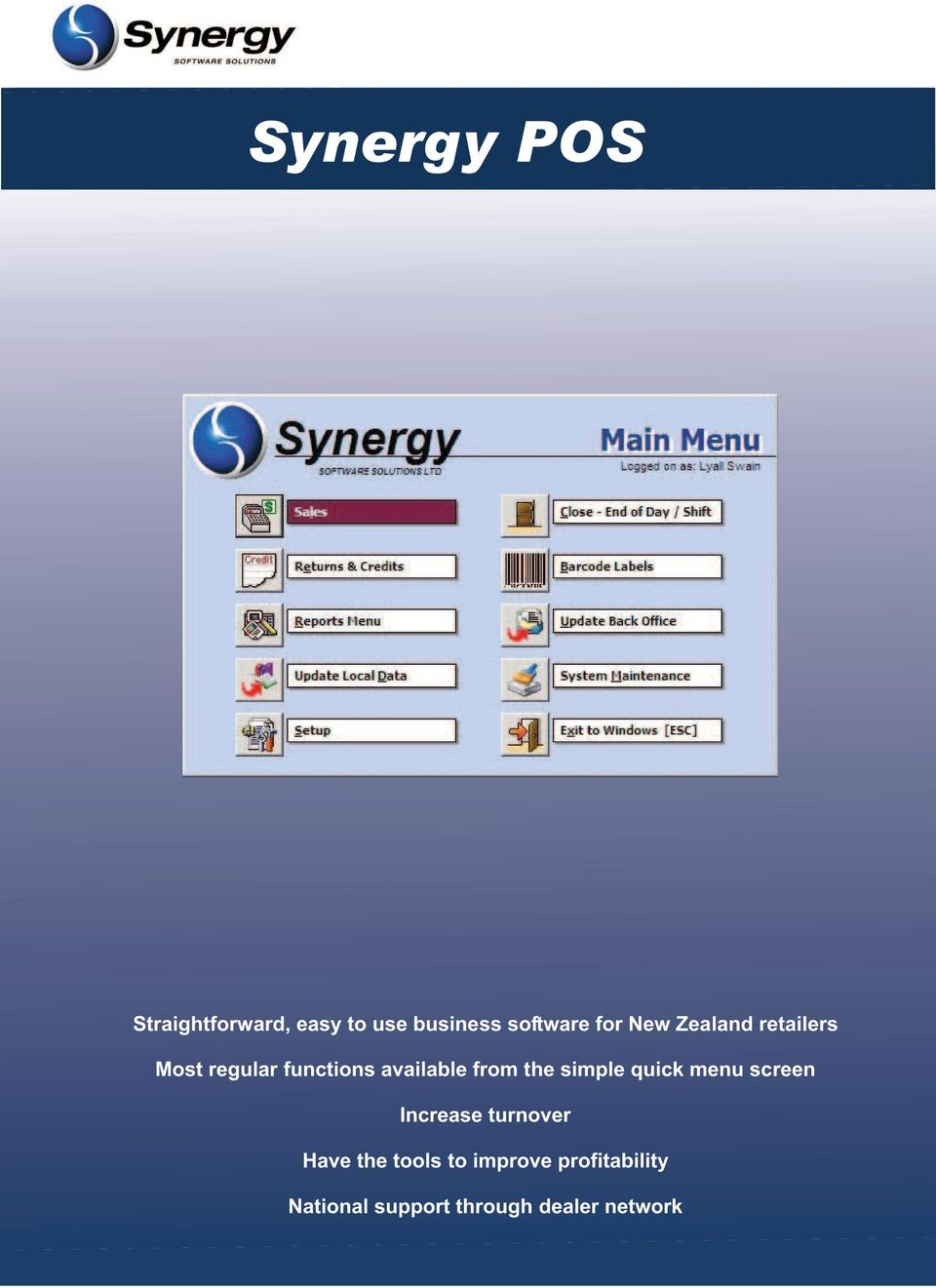 the simple quick menu screen Increase turnover Have the tools