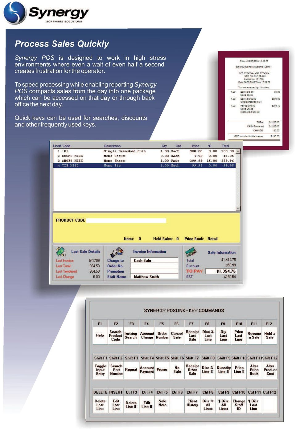 To speed processing while enabling reporting Synergy POS compacts sales from the day into one package