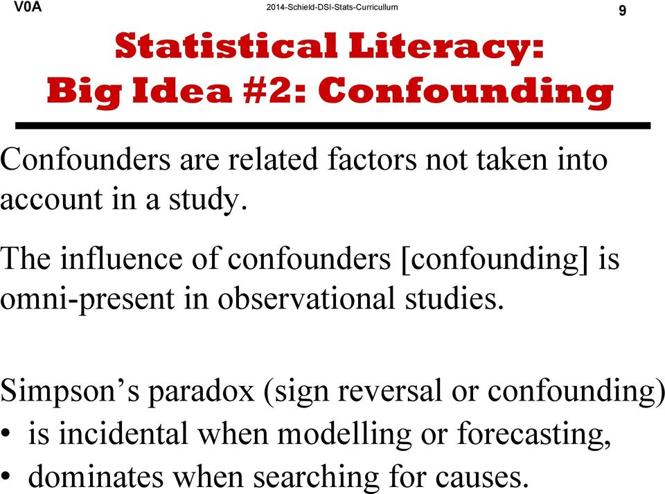 The influence of confounders [confounding] is omni-present in observational
