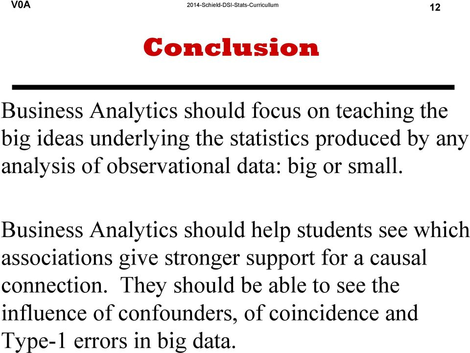 Business Analytics should help students see which associations give stronger support for a
