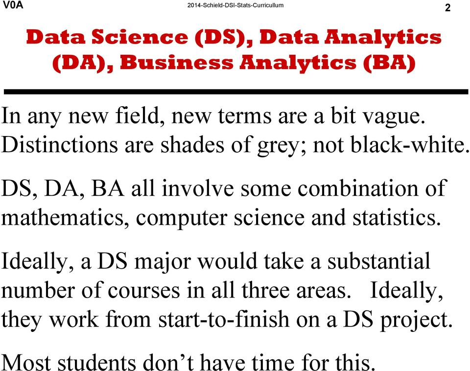 DS, DA, BA all involve some combination of mathematics, computer science and statistics.