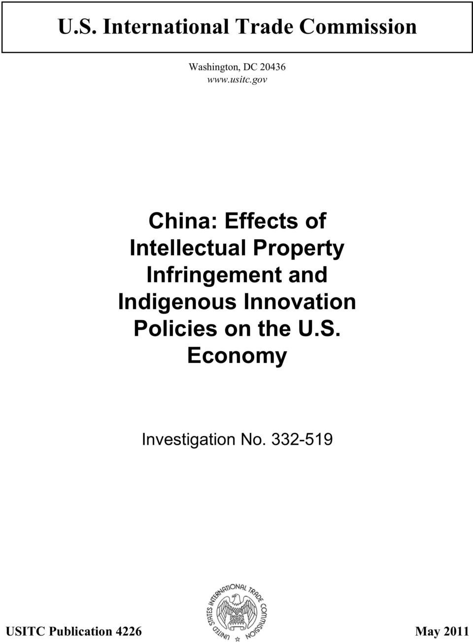 gov China: Effects of Intellectual Property Infringement