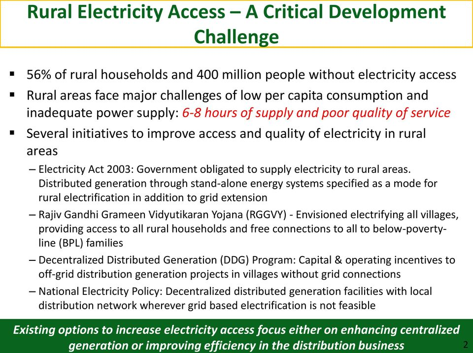 supply electricity to rural areas.