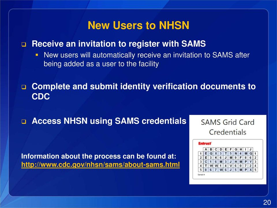 Complete and submit identity verification documents to CDC Access NHSN using SAMS