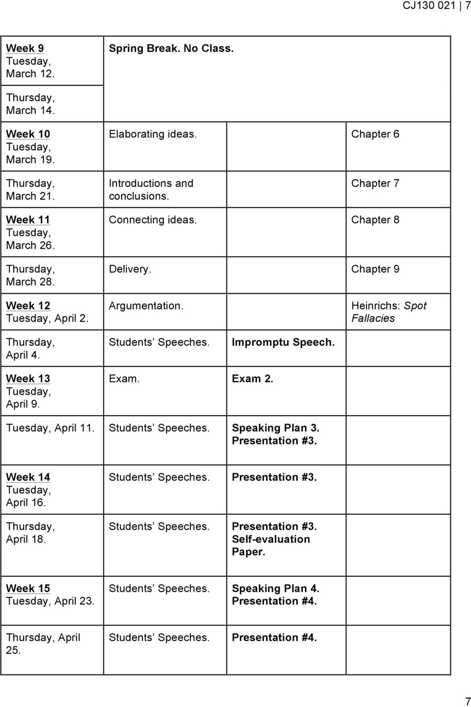 Students Speeches. Impromptu Speech. Week 13 April 9. Exam. Exam 2. April 11. Students Speeches. Speaking Plan 3. Presentation #3. Week 14 April 16. April 18.