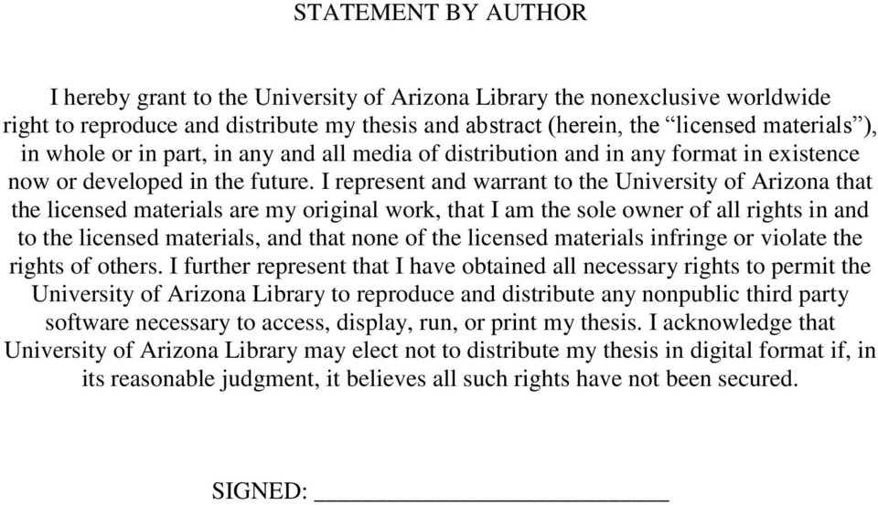 I represent and warrant to the University of Arizona that the licensed materials are my original work, that I am the sole owner of all rights in and to the licensed materials, and that none of the