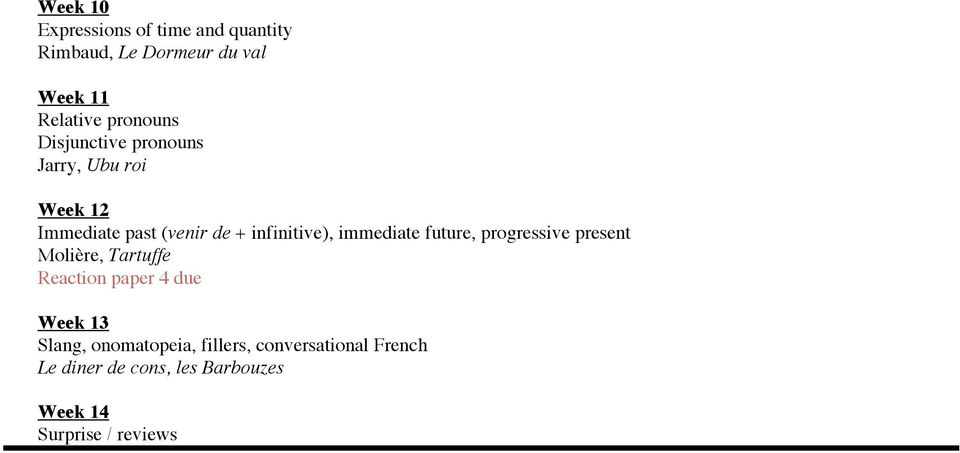 immediate future, progressive present Molière, Tartuffe Reaction paper 4 due Week 13 Slang,