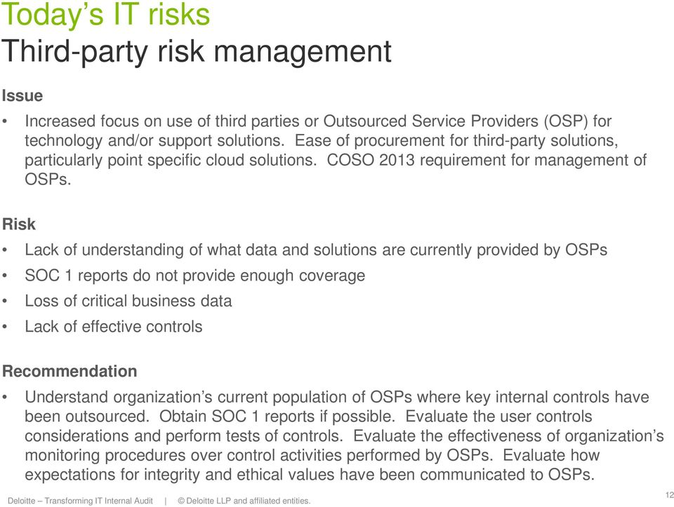 Risk Lack of understanding of what data and solutions are currently provided by OSPs SOC 1 reports do not provide enough coverage Loss of critical business data Lack of effective controls