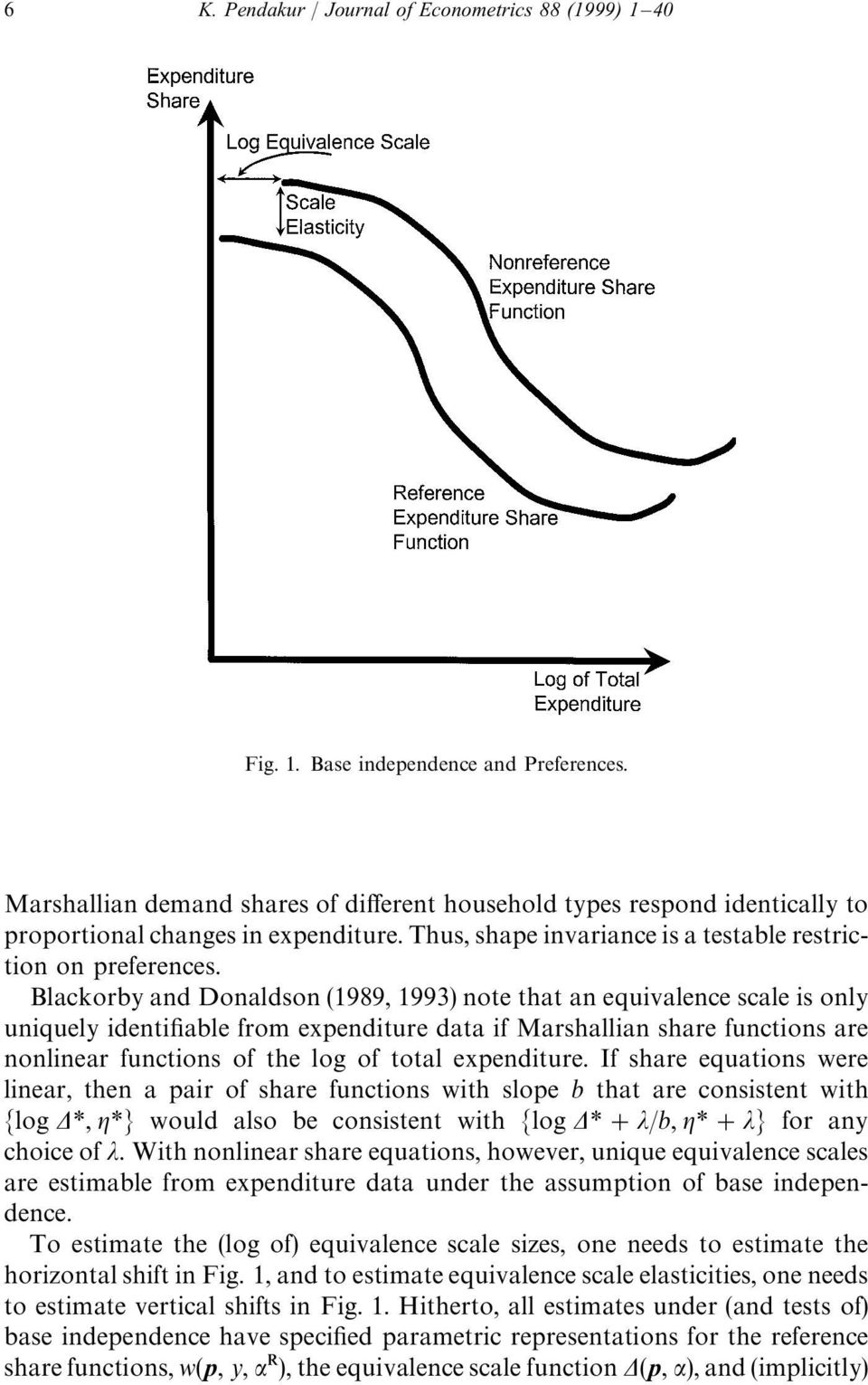 Blackorby and Donaldson (1989, 1993) note that an equivalence scale is only uniquely identifiable from expenditure data if Marshallian share functions are nonlinear functions of the log of total